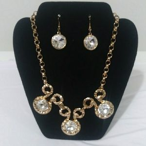 Necklace and earrings/crafted gold and rhinestones